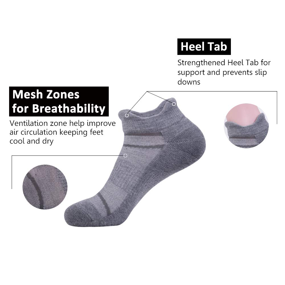 Men's 6 Pack Athletic Ankle Socks with Half Cushion for Running Double Tab Sock by JOYNÉE (Image #4)