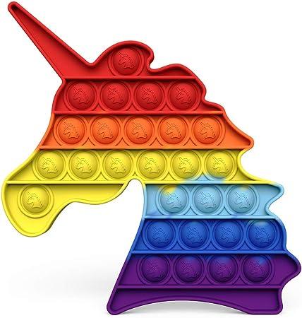 Chrisfishy Pop Fidget Toys for Anxiety Push Pop Pop Bubble Sensory Fidget Toy, Silicone Stress Reliever Toy (Rainbow Unicorn)