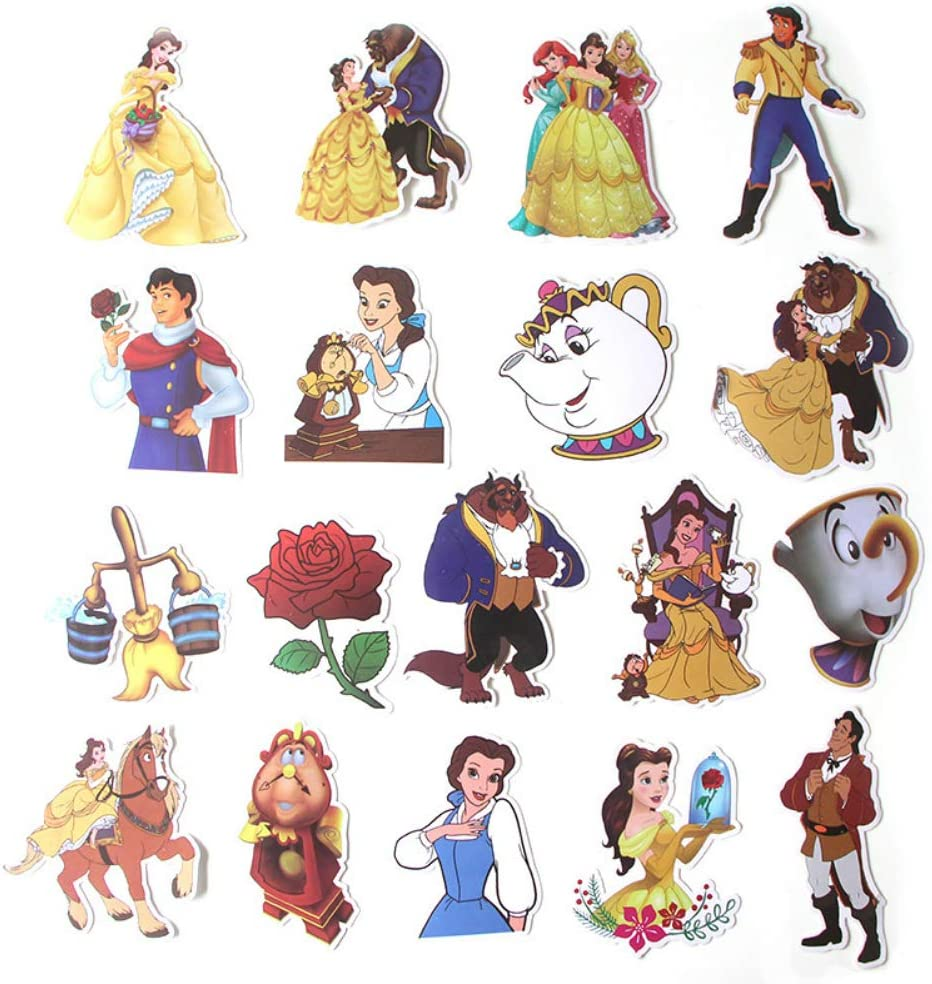 Cartoon Movie Beauty and The Beast Themed 18 Piece Sticker Decal Set for Kids Adults - Laptop Motorcycle Skateboard Decals