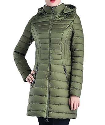 7031f518d51 Amazon.com  FRPE Women Slim Fit Plus Size Quilted Hooded Winter Parka  Puffer Down Coat  Clothing