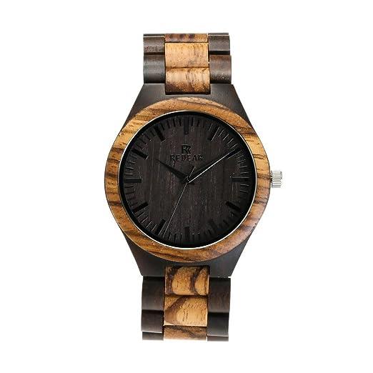 Los relojes análogos japonesa movimiento de cuarzo del dial redondo reloj de pulsera de madera de sándalo: Amazon.es: Relojes