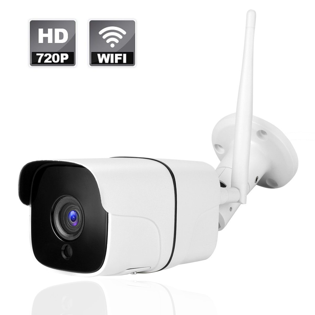 Wireless WIFI Outdoor IP Security Camera with Night Vision Up to 65ft Motion Detection Alarm/Recording, Support Max 64GB SD Card (external) AT-100BW