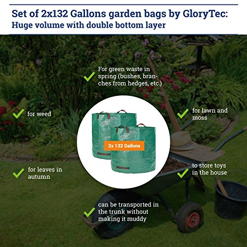 Glorytec 2-Pack Garden Bags - 132 Gallons Leaf Bag - Price-Performance Winner 2018 - Large Reusable Gardening Bagster with 4 Handles - Collapsible Lawn and Yard Waste Containers by Glorytec (Image #5)