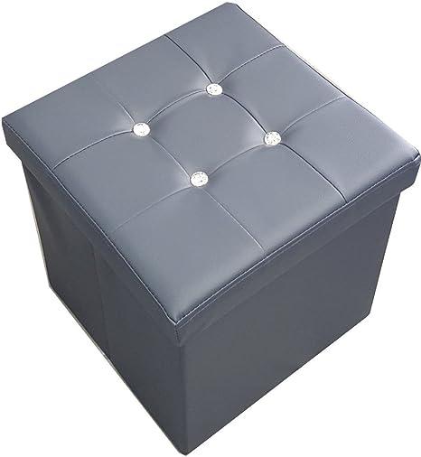 Russo Tessuti Puf Puff Box Caja taburete caja plegable CAPITONNE tipo Swarovski: Amazon.es: Hogar