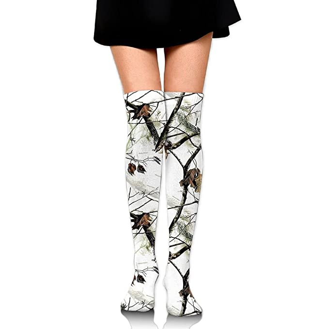 f645ac0469b Amazon.com  White Realtree Camo Over The Knee Long Socks Tube Thigh-High  Sock Stockings For Girls   Womens  Clothing