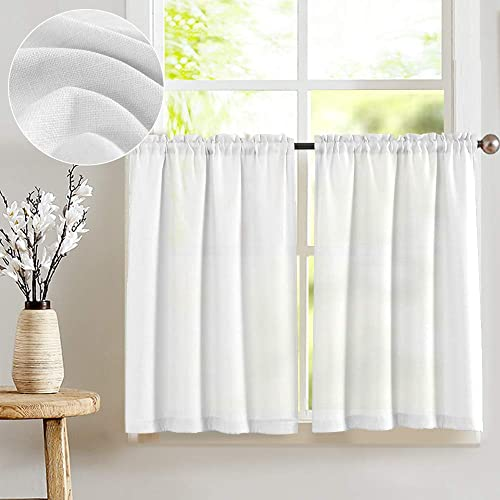 jinchan White Tier Curtains Semi Sheer Short Curtains Kitchen Casual Weave Cafe Curtains Half Window Treatments 2 Panels 54 L