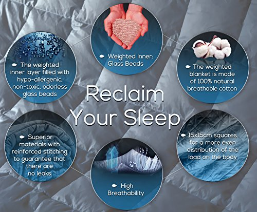 Weighted Blanket 20 lbs 60x80 inches Queen Size - Premium Gravity Heavy Blanket - Great Sleep Therapy for People with Anxiety - Autism - ADHD - Insomnia or Stress - Cotton - Glass Beads by Zotlex (Image #1)