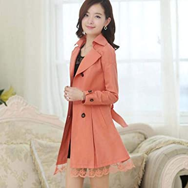 Amazon.com: 1PC Trench Coat for Women Coat Double easted Lace Outerwear Aigos Z015,Orange,XXL: Clothing