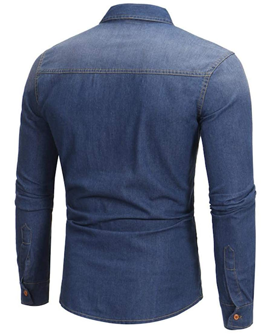 Hajotrawa Mens Casual Washed Long Sleeve Button Up Solid Color Denim Shirt