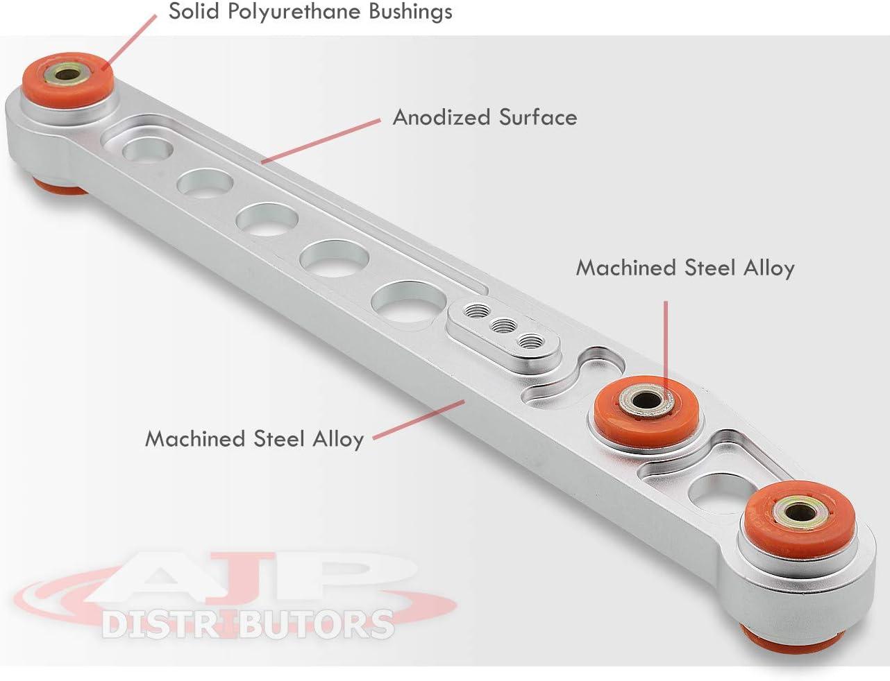 AJP Distributors For Honda Civic Ek Dx Lx Ex Si Suspension Aluminum Silver Rear Lower Control Arm Bar Rod Red Bushing Set