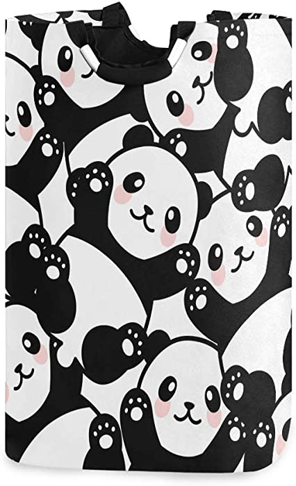 Cute Panda Laundry Hamper Basket Bucket Black White Foldable Dirty Clothes Bag Washing Bin Toy Storage Organizer for College Dorms, Kids Bedroom,Bathroom