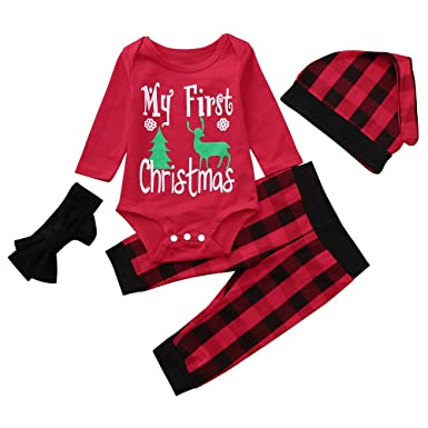 f397357e0706 Amazon.com  Infant Baby Boys Girls Christmas Outfit Long Sleeve ...