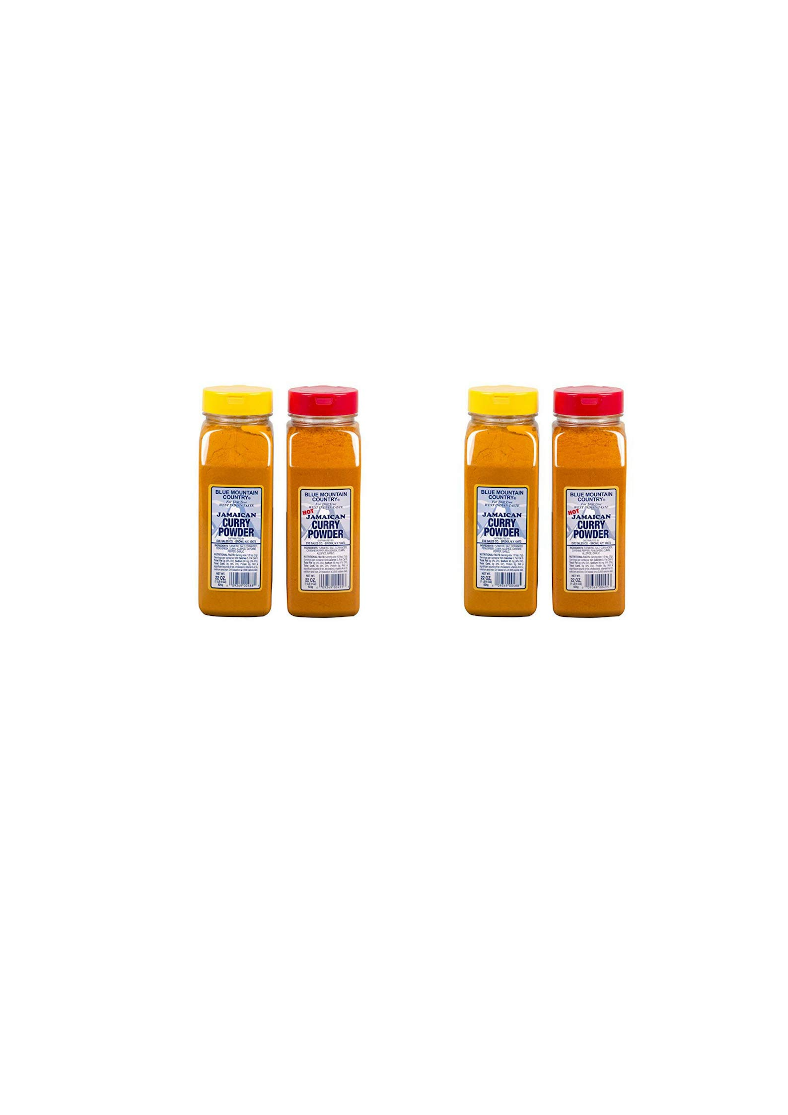 Blue Mountain Country Jamaican Curry and Hot Curry Powder, 22 ounce (Pack of 2) (4 pack)