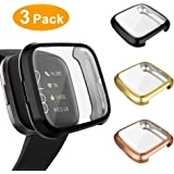 3 Pack Screen Protector Compatible Fitbit Versa 2 Case, GHIJKL Ultra-Thin Slim Soft TPU Protective Case All-Around Full Cover Bumper Shell for Fitbit Versa 2 Smart Watch, Black,Gold,Rose Gold