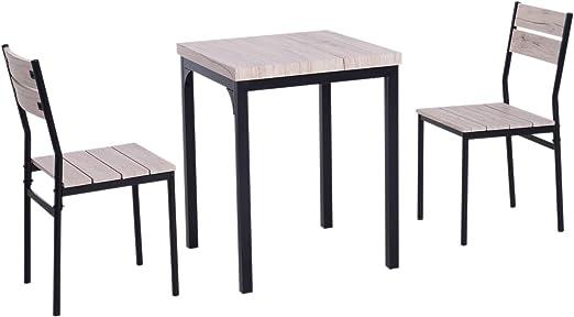 Homcom - Juego de mesa de comedor con 2 sillas para casa y cocina ...