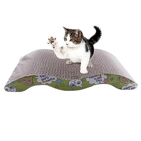laamei Rascador para Gatos, Cat Scratching Board para Raspar Juguete Interactivo Alfombrillas de Cartón con
