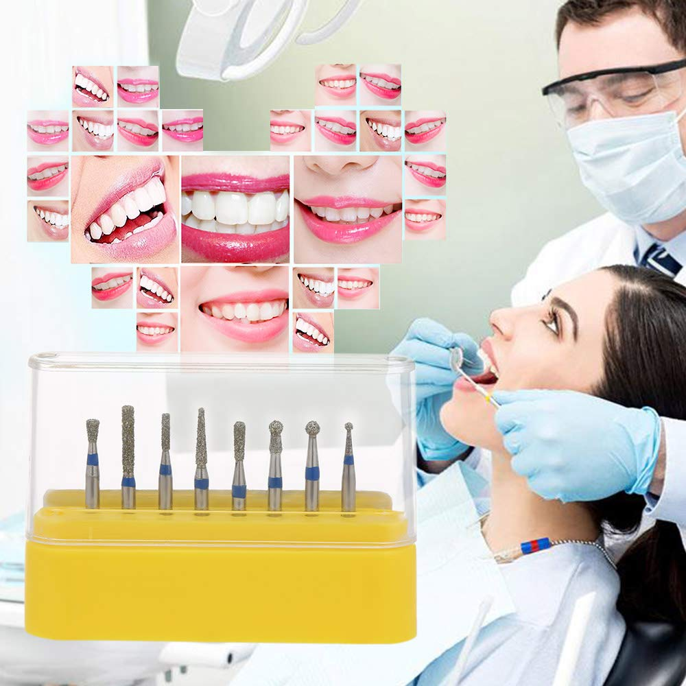 zroven 8Pcs Denti per frese ad alta velocit/à con punta diamantata Denti per lucidatura Denti per la preparazione Bur Attrezzature dentali