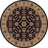 150421 - 8' Round - Rug Depot Traditional Area Rug - Como Collection - Black Background - Machine Made of 100% Olefin Fibers - Less Than 500,000 Points - T-4 Quality Rating - Round Rugs with Matching Stair Runners, Stair Treads, Hall Runners and Area Rugs