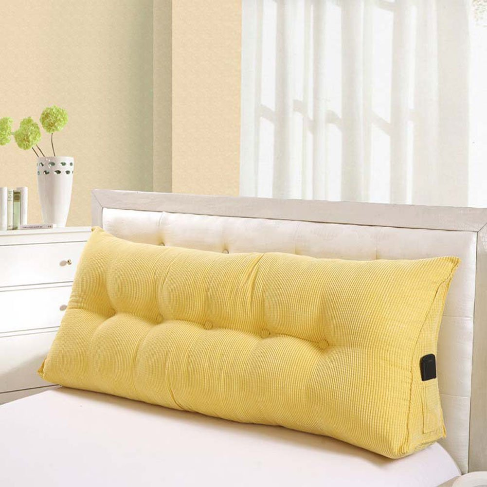 Vercart Sofa Bed Large Filled Triangular Wedge Cushion Bed Backrest Positioning Support Pillow Reading Pillow Office Lumbar Pad with Removable Cover Yellow 70x19x10inch