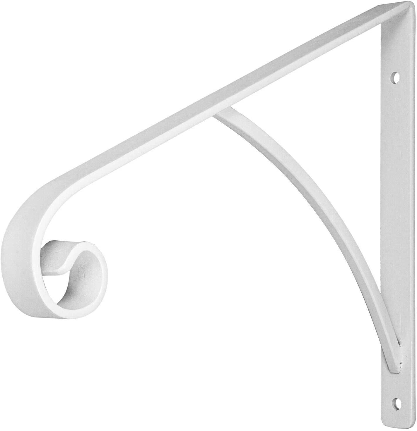 BuoQua Grab Supports Wrought Iron Fits 1 or 2 Steps Post Mount Step Grab Rail for 1 to 2 Step Wrought Iron Grab Rail Solid Hand Rail Stairs Wrought Iron Metal Stair Rail Steel Flat Bar Gloss White