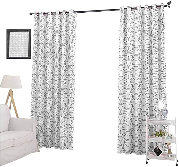 Amazon Com Yuazhoqi Geometric Window Curtains Panels Sport Football Ball Like Hexagonal Geoemtrical Shapes With Black Backdrop 2 Panels W52 X L72 Blackout Curtains For Boys Bedroom Home Kitchen