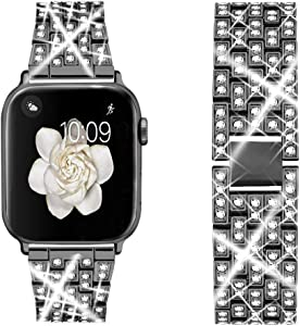 Dsytom Bing Band Compatible with Apple Watch Band 38mm 40mm 42mm 44mm,Jewelry Replacement Metal Wristband Strap for iWatch Band Series 6/5/4/3/2/1/SE(Black)