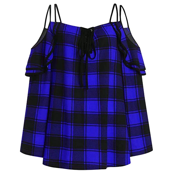 Luckycat Camiseta de Las Mujeres Primavera Verano Fuera del Hombro Cuadros Impresión Tallas Grandes Camisas Básica Manga Larga Blusas Casual Deporte Tops ...