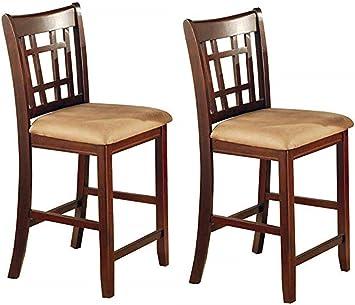 Amazon Com Lavon 24 Counter Stools Tan And Brown Set Of 2 Furniture Decor