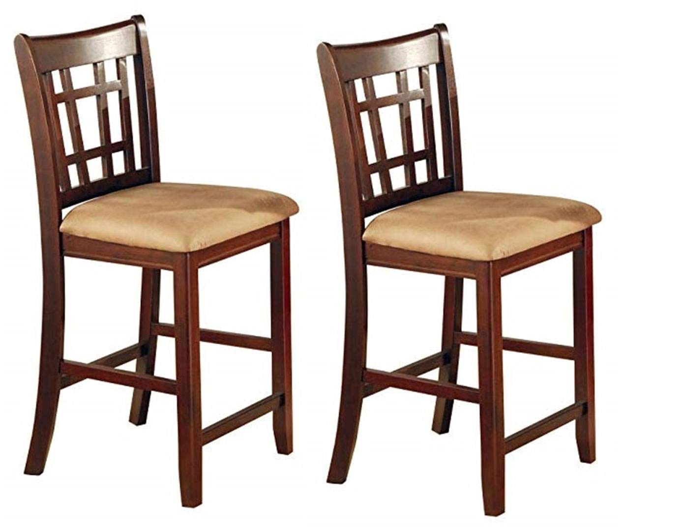 Lavon 24 Counter Stools Tan and Brown Set of 2