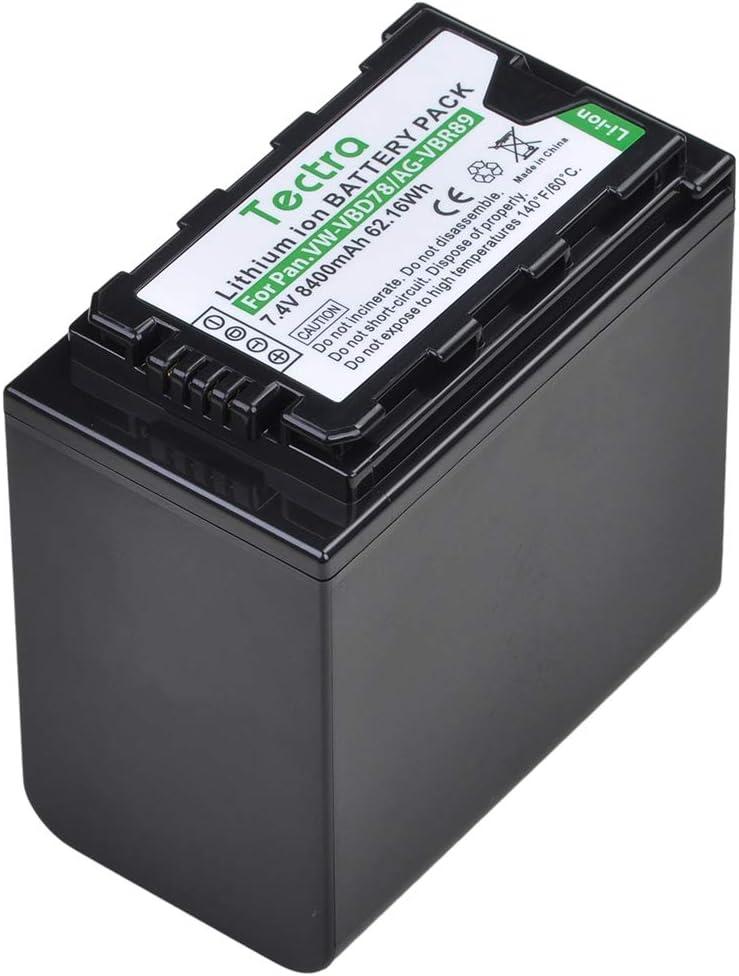 Tectra 8400mAh VW-VBD78 AG-VBR89 Camcorder Battery and LED USB Charger for Panasonic AG-UX180 AG-UX90 AG-3DA1 AG-DVC30 AG-HPX171 AG-HPX250 AJ-PX270 AJ-PCS060 HC-MDH2 HC-X1000 HDC-Z10000