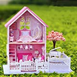 Kisoy Romantic and Cute Dollhouse Miniature DIY House Kit Creative Room Perfect DIY Gift for Friends,Lovers and Families (Pink Sakura)