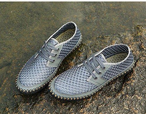 scarpe estive morbido pelle da scarpe Bebete5858 uomo scarpe on traspirante estate marchio vera casual confortevole moda uomo slip mesh in Grigio Y4wqBS