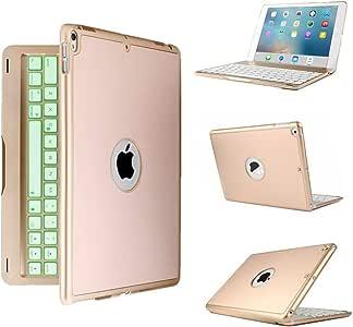 elecfan iPad Mini 3/Mini 2 Case Keyboard, 7 Colors LED Backlit/Bluetooth Wireless/Auto Sleep-Awake/130 Degree Swivel/Smart Cover iPad Mini 1/2/3 7.9 inch Retina Display (Gold)