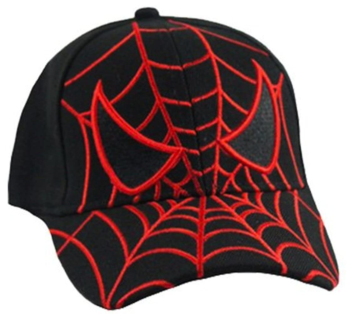 Kid's Youth Spider Man Hat - Adjustable Baseball Cap (Black Spider Eyes)