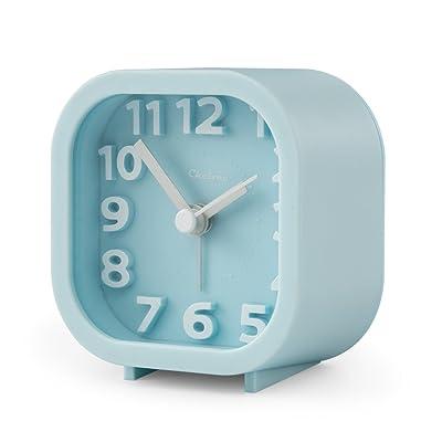 "Alarm Clock, Chelvee 2"" Quartz Analog Travel Alarm Clock with Night Light, Ultra Small, Silent with No Ticking (Blue)"
