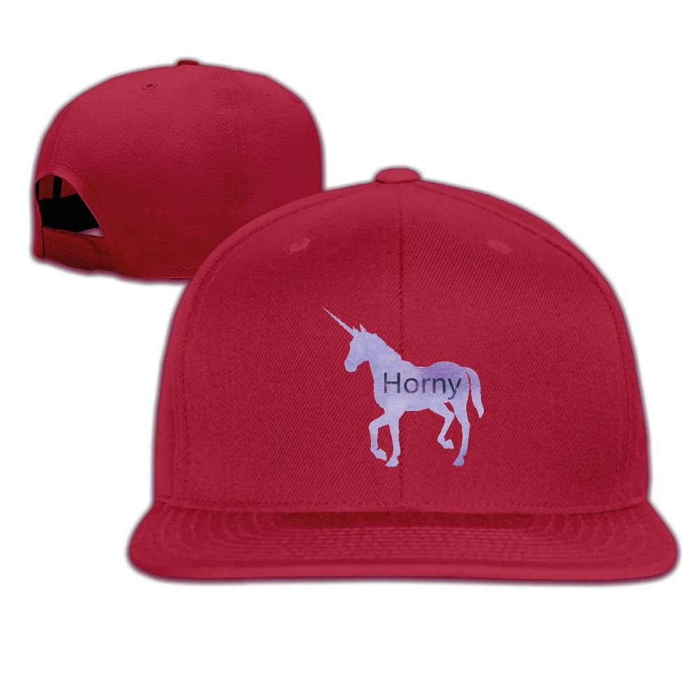 515b02205f0 Amazon.com  Enzenon Horny Unicorn Unisex Causal Fitted Flat Bill Skater Cap   Clothing