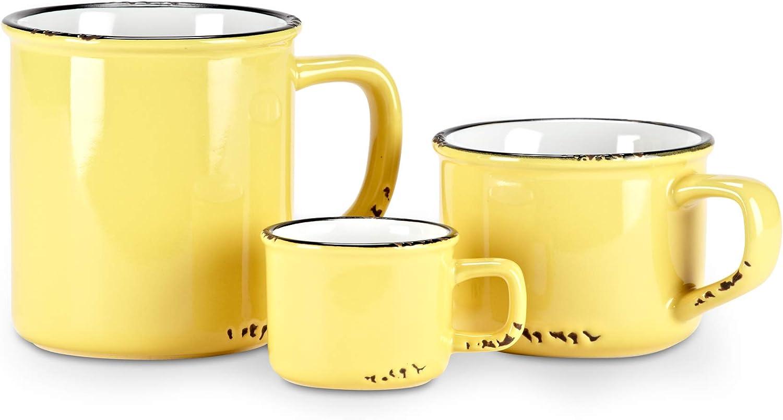 Abbott Collection Enamel Look Stoneware Cappucino Cup Yellow