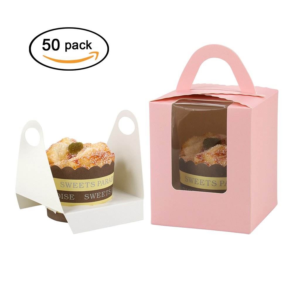 Barwa Single Cupcake Boxes + Inserts Window for Wedding Birthday Party Gifts (30)