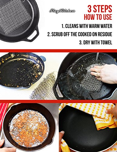 Cast Iron Cleaner Scrubber XL 8x6 Inch 316L Stainless Steel Cleaning Set For Cook Pan Scraper Grill With Two Durable Polycarbonate Scrapers + Silicone Red Chainmail Pan Handle Holder By ItayKitchen by ItayKitchen (Image #5)