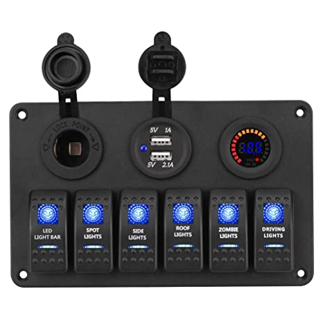 waterwich 6 gang marine toggle rocker switch panel waterproof with digital  voltmeter 3 1a dual usb