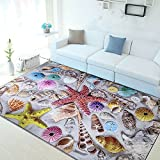 LOCHAS Rug Modern Nylon Washable Area Rug for Living Room Bedroom Dining Room Runner, 5' X 8' (Sea Shells)