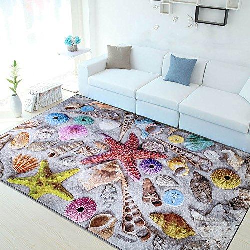 LOCHAS Rug Modern Nylon Washable Area Rug for Living Room Bedroom Dining Room Runner, 5' X 8' (Sea Shells) by LOCHAS