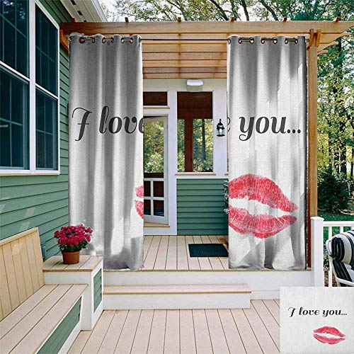 Seductive Tie - leinuoyi I Love You, Outdoor Curtain Ties, Grunge Style Seductive Female Smooch with Glamorous Red Colored Lipstick, Balcony Curtains W108 x L96 Inch Dark Coral Gray