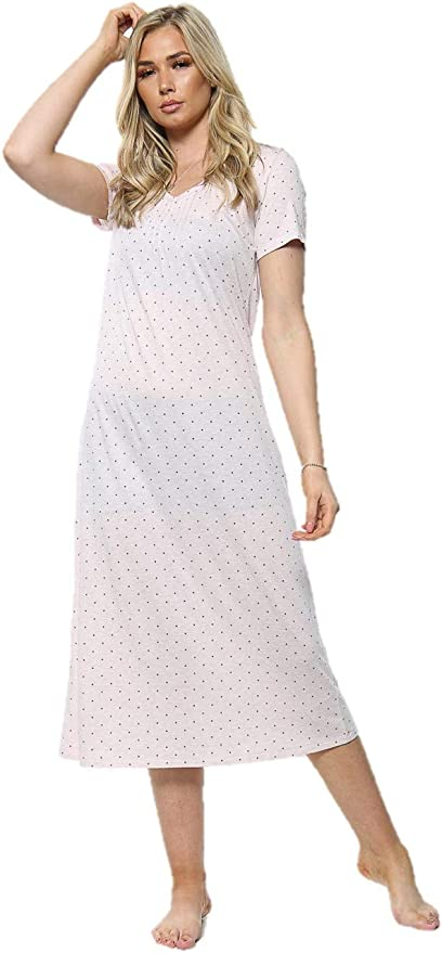 M/&S no label   short length Ladies pink//white short sleeve nightdress 12-14