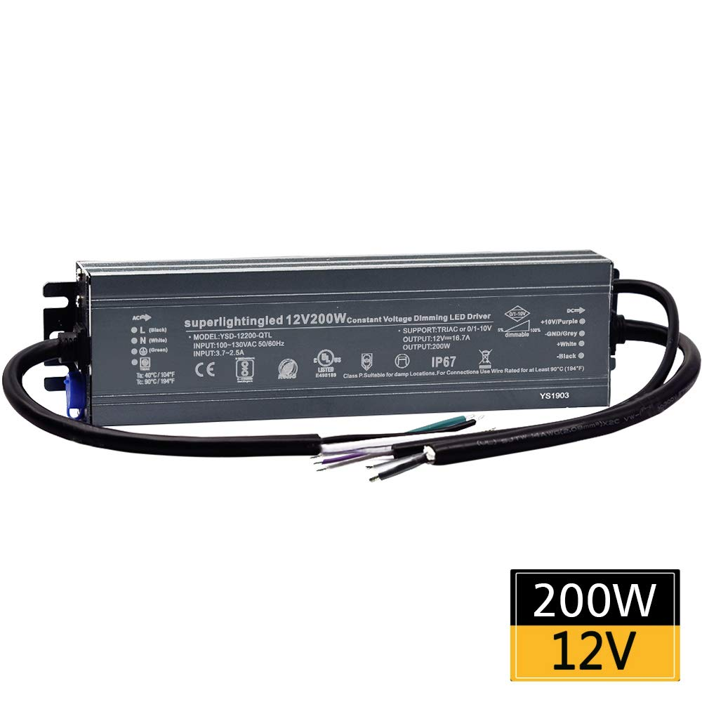 12VDC 200W 0/1-10V&TRIAC Dimmable UL-Listed Waterproof IP67 Thinner Power Supply 110V to 12V Low Voltage Transformer Adapter for IP68 LED Strip Lights, Outdoor Underwater, Wash Wall, Fountain Lights by SuperlightingLED