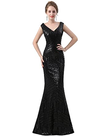 Zechun Womens Golden Mermaid Long Prom Dress Sequins Evening Gown Black US2