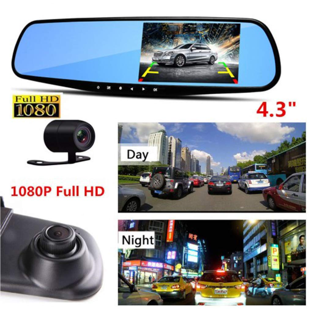 4.3'' 1080P Car DVR Mirror Dash Cam Recorder+Rear View Camera Kit with 32G SD Card