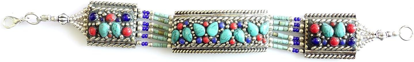 925 Lapis-Lazuli, Turquesa Y Pulsera Coral Tibetano DE Plata para Mujeres DE Plata TIBETANA