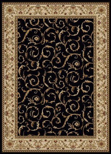 Border Rug Black Scroll - Radici USA Como 1599 Area Rug - Black