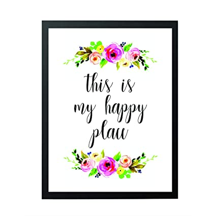 Room Decor - This Is My Happy Place - welcome sign - Home Decor - wall art  Watercolor Floral - Housewarming Print - Happy Quotes - Inspirational Quote  ...
